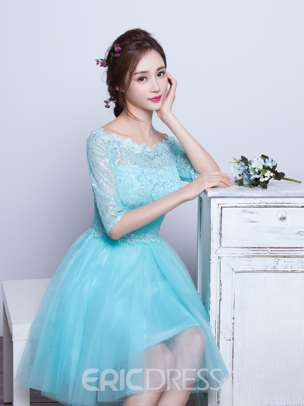 Ericdress Bateau Neck Half Sleeves Lace Beaded Prom Dress