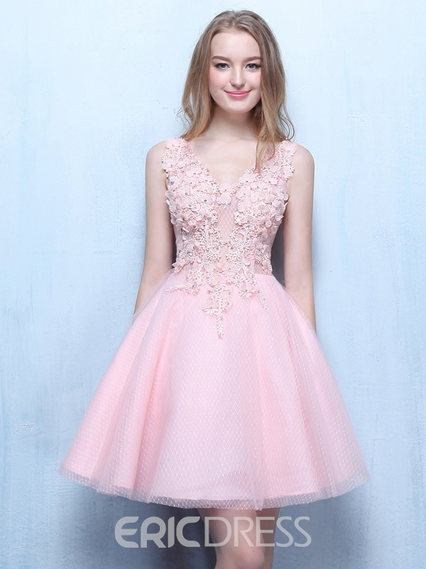 Ericdress col v applications perles robe courte