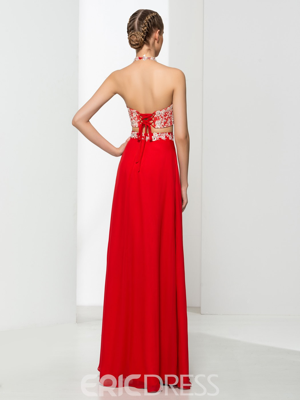 Ericdress Halter Two Pieces Appliques Sequins Red Prom Dress