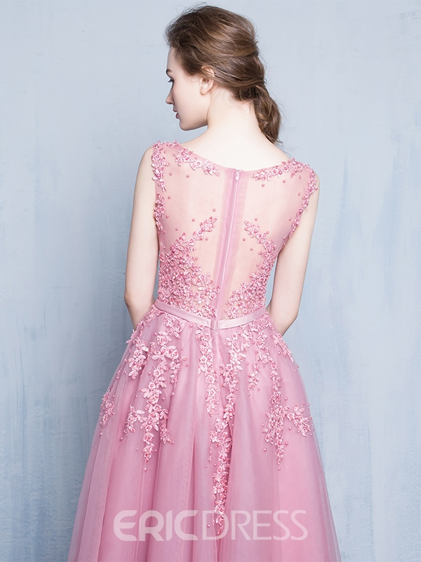 Ericdress Scoop Neck Appliques Beading Tea-Length Prom Dress