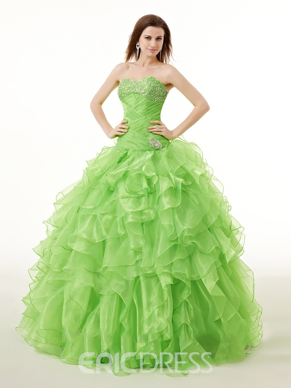 Ericdress Ruffles Ball Quinceanera Dress With Beadings