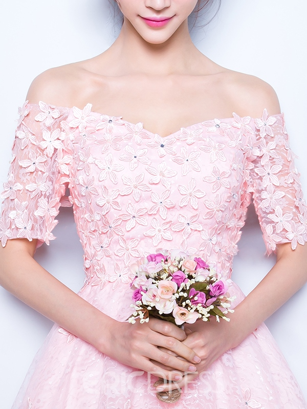 Ericdress Off-The-Shoulder Beaded Flowers Pink Prom Dress