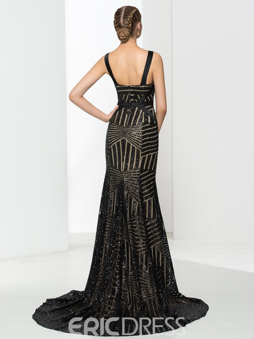 Ericdress Straps Hollow Sequins Sheath Evening Dress