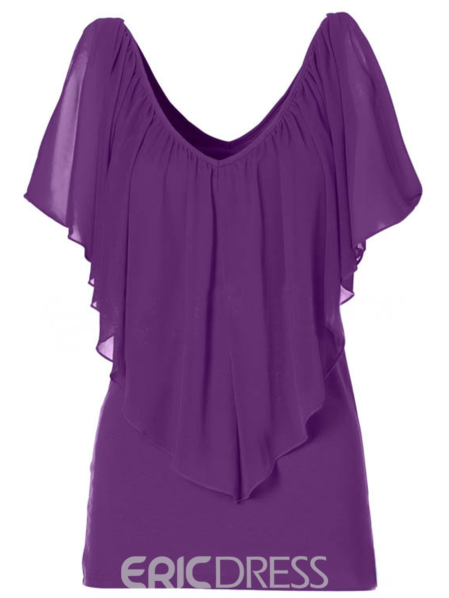 Ericdress Solid Color V-Neck Pleated Blouse