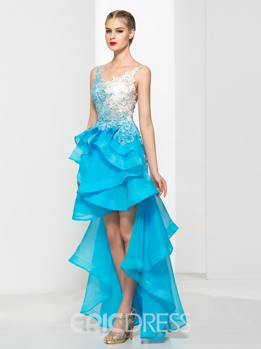 Ericdress V-Neck Appliques Beading Asymmetry Prom Dress