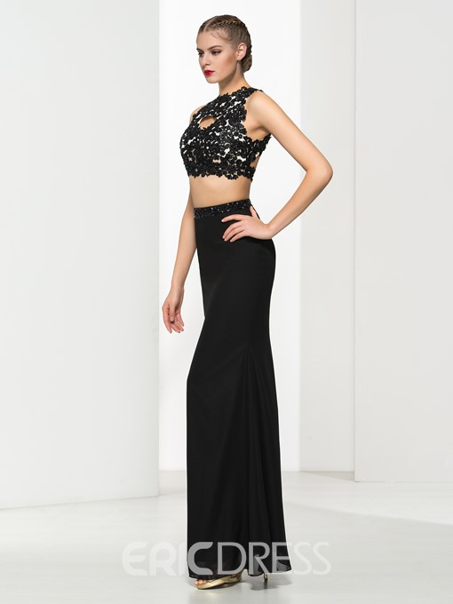 Ericdress Sheath Two Pieces Appliques Beaded Backless Evening Dress