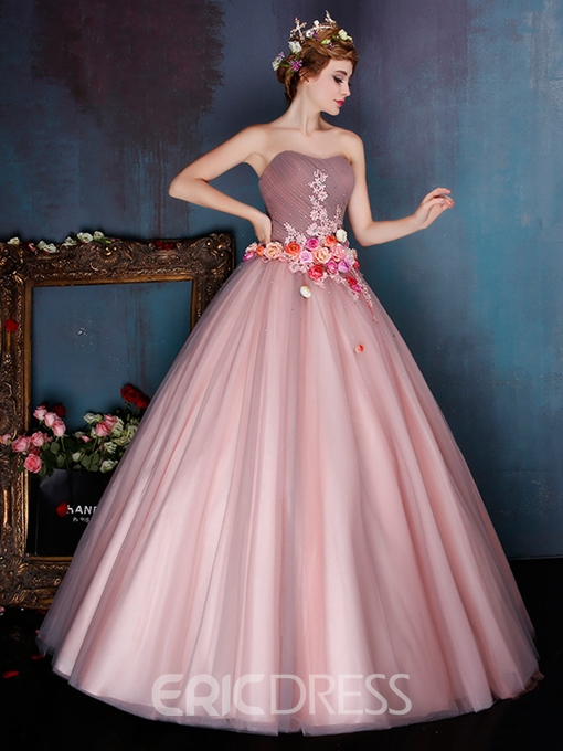 Eridress Vintage Strapless Appliuqes Flowers Lace-Up Ball Gown Dress