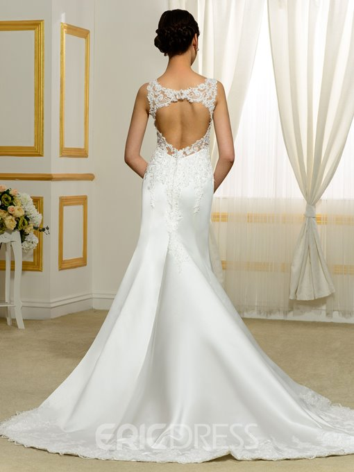Ericdress Appliques Mermaid Beading Backless Wedding Dress