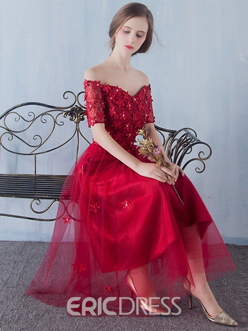 Ericdress Fancy A-Line Off-the-Shoulder Lace Tea-Length Prom Dress