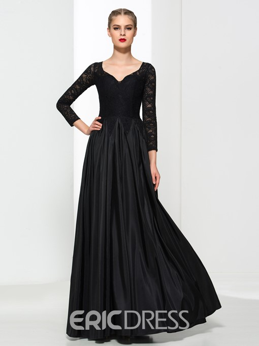 Ericdress V-Neck 3/4 Length Sleeves Lace Evening Dress