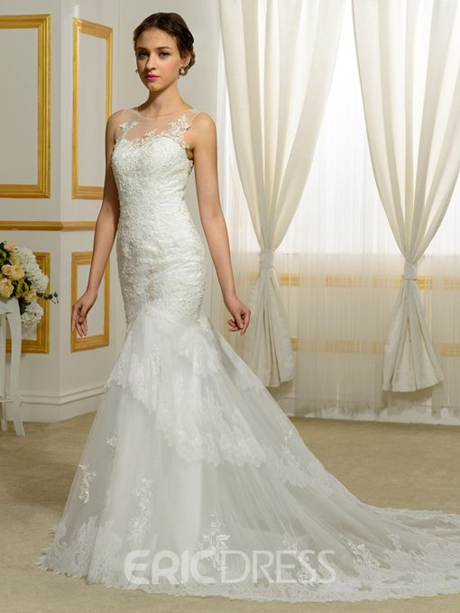 Ericdress Charming Appliques Sheer Back Mermaid Wedding Dress