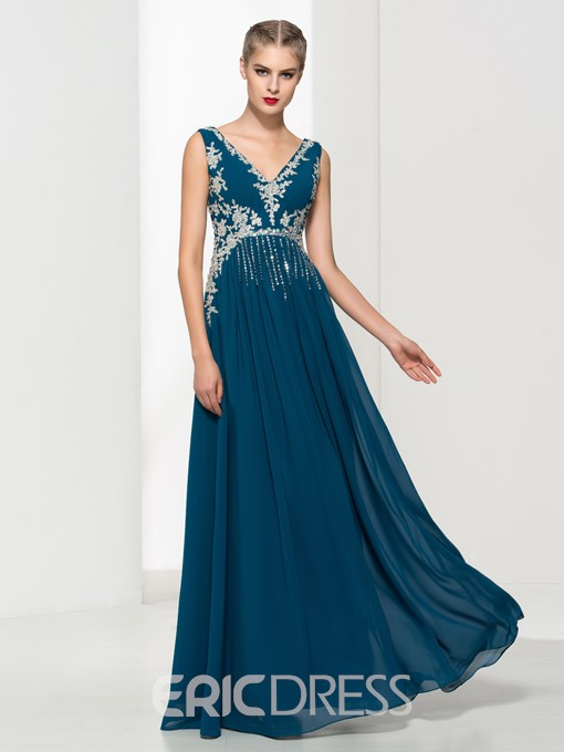 Ericdress V-Neck Appliques Beading Evening Dress
