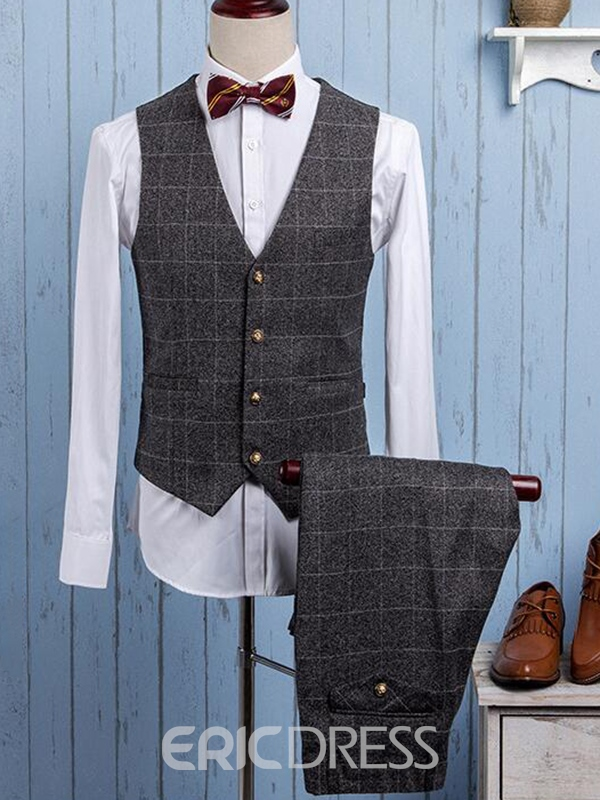 Ericdress Plaid Three-Piece Slim Men's Suit