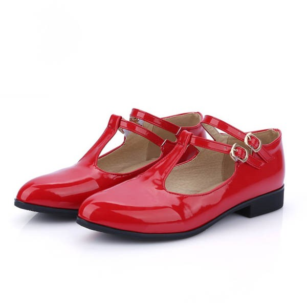 Ericdress T Strap Buckles Decorated Flats