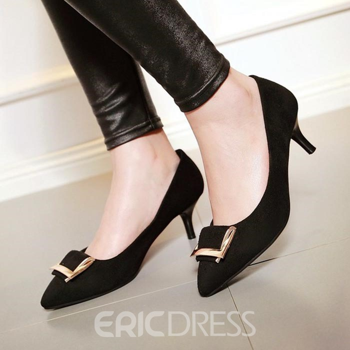 Ericdress Suede Metal Decorated Point Toe Pumps