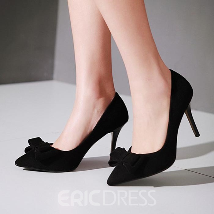 Ericdress Suede Bowtie Pumps