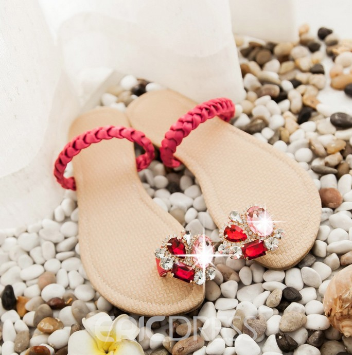 Ericdress Crystal Ring-Toe Flat Sandals