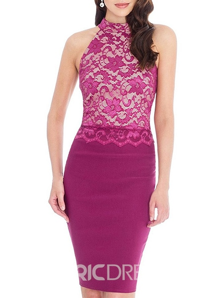 Ericdress Halter Lace Patchwork Sheath Dress