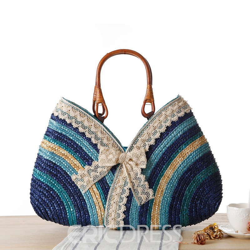 Ericdress Colorful Stripe Lace Bowknot Straw Handbag