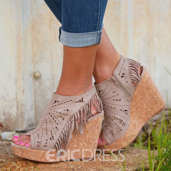Ericdress Cut Out Tassels Wedge Sandals