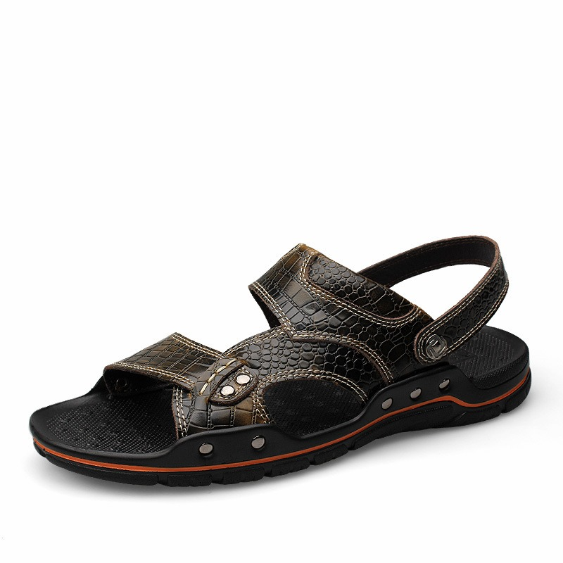 Ericdress Open Toe Flat Heel Hollow Buckle Men's Sandals