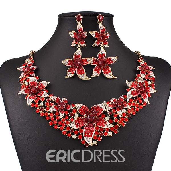 Ericdress Exaggerate Colorful Diamante Jewelry Set