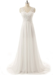 Ericdress High Quality V Neck Appliques Empire Wedding Dress - $139.09