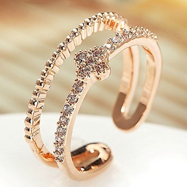 Ericdress Double Row Diamante Lucky Leaf offener Ring