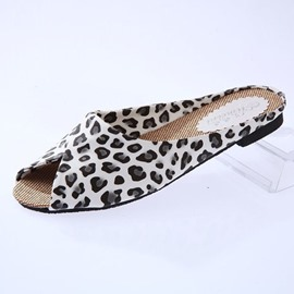 Ericdress Peep Toe leopardo zapatillas