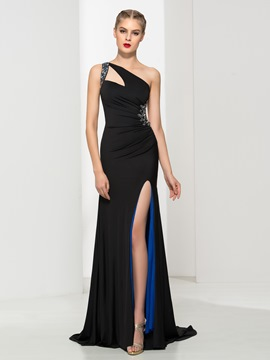 Ericdress One Shoulder Beaded Pleats Hollow Split-Front Evening Dress