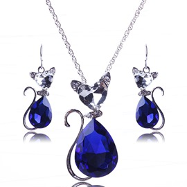 Ericdress Lovely Cat Rhinestone Jewelry Set