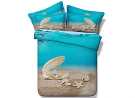 Vivilinen 3D Shell and Starfish Printed 4-Piece Bedding Sets/Duvet Covers