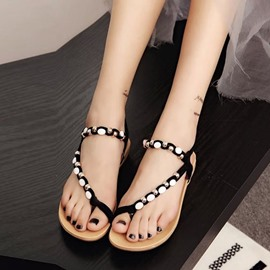 Ericdress Elastic Band Bead Toe Ring Flat Sandals