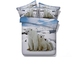 Vivilinen 3D Polar Bear Family Printed Cotton 4-Piece White Bedding Sets/Duvet Covers