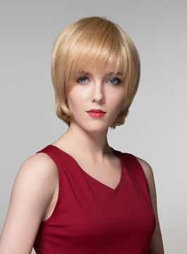 Ericdress Short Golden Straight Human Hair Capless Wig 6 Inches