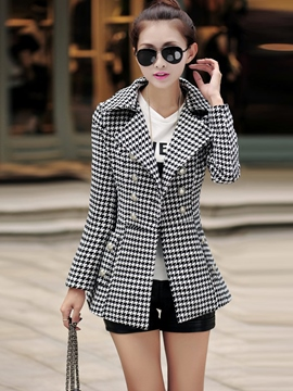 Ericdress Souble-Breasted Houndstooth Coat