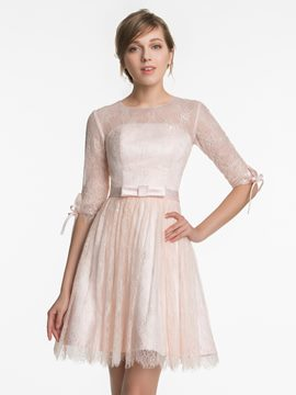 Ericdress Beautiful Jewel Half Sleeves Lace Short Bridesmaid Dress