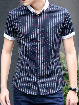 Ericdress Short Sleeve Stripe Print Men's Shirt