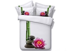 3D Pink Lotus and Bamboo Printed Cotton 4-Piece White Bedding Sets/Duvet Covers