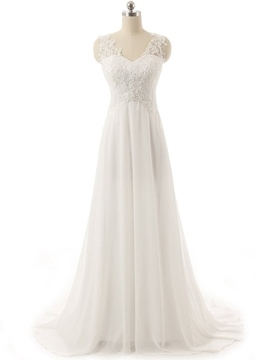 Ericdress V Neck Sequins Appliques Beach Wedding Dress