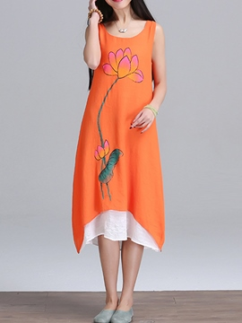 Ericdress Print Sleeveless Asymmetric Maxi Dress
