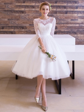 Ericdress Half Sleeve Appliques Beach Wedding Dress 2019
