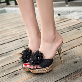 Ericdress Shining Sequins Flower Slippers