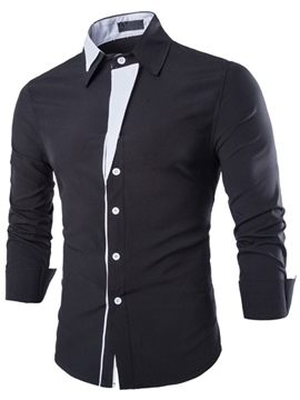 Ericdress Patched Slim Long Sleeve Men's Shirt