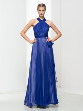 Ericdress Halter Pleats Bowknot Evening Dress
