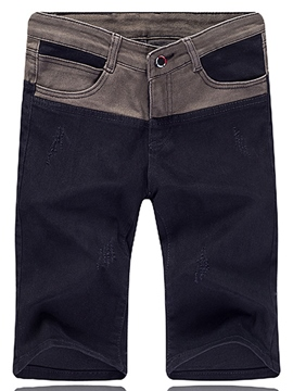 Pantalones cortos de Color Ericdress bloque Denim Casual hombres
