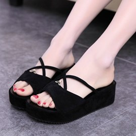 Ericdress Open Toe Flat Heel Cross Strap Slippers