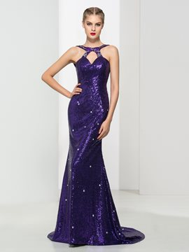 Ericdress Halter Backless Sequins Trumpet Evening Dress