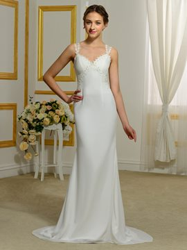 Ericdress Charming Straps Sheath Sheer Back Wedding Dress