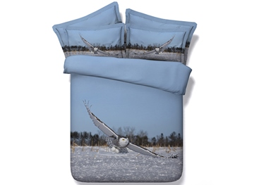 Flying Owl under Blue Sky Printed Cotton 3D 4-Piece Bedding Sets/Duvet Covers
